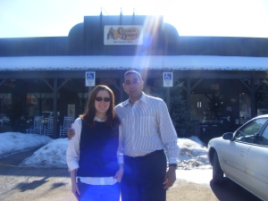 Pam Maloney & George Irish get some grub in Sturbridge, MA